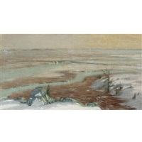 a river landscape in winter by augustus vincent tack