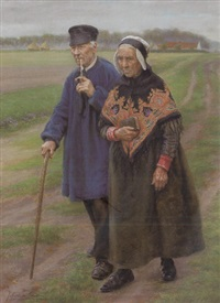 promenade du couple dans la campagne by jan van de fackere