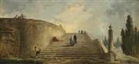 a grand staircase by hubert robert