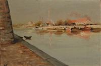 village en bord de rivière, les barques paysage du midi by marcel dyf