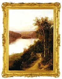 lane cove river from cliffs near bridge (new south wales) by william charles piguenit