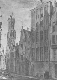 strasse in brügge mit belfried by gottfried semper