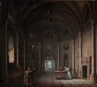 intérieur d'un palais royal gothique avec une mère enseignant à sa fille by fleury-francois richard