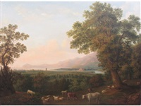a wooded coastal landscape with cattle and drovers by a tree by margaret nasmyth