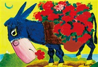 flowers and donkey by sa sukwon