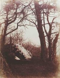 rocher et arbres, forêt de fontainebleau by eugène cuvelier
