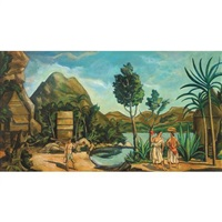a tropical landscape with figures by louis bouché