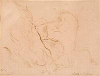 batalla mitológica de unicornia y grifo by leonora carrington