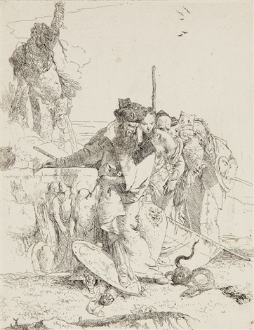 six personnages debout regardant un serpent, pl.12 (from scherzi) by giovanni battista tiepolo