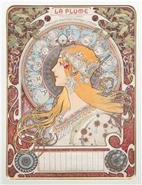 zodiaque (la plume) by alphonse mucha
