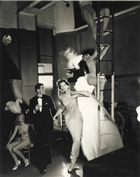 suzy parker and robin tattersall, evening dress by griffe, folies-bergère, paris, august by richard avedon