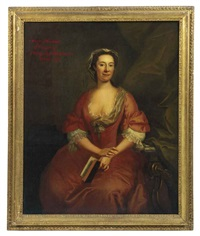 portrait of mary thomas, second wife of philip bartholomew, in a pink dress with a lace collar and sleeves, seated in an interior, holding an open book... by john wollaston
