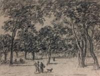 couple de paysans et leur chien cheminant sous les arbres by georges michel