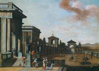 architekturcapriccio mit promenierenden personen in einem palasthof by alessandro salucci