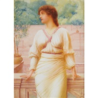 a grecian beauty on a marble terrace by henry ryland