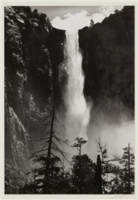 bridal veil falls, yosemite by ansel adams