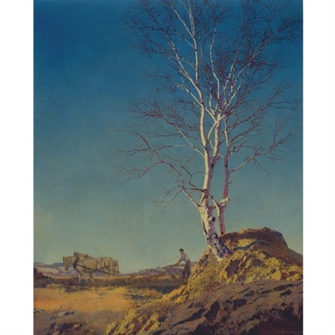 white birch by maxfield parrish