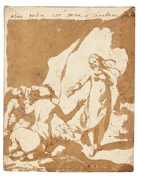 a design for a book illustration: a young woman addressing a group of centaurs by andrea boscoli