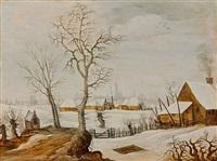 paysage enneigé avec une trappe aux oiseaux by joos de momper the younger