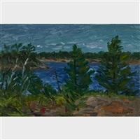 pines against blue waters by william goodridge roberts