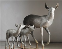 doe and yearling fawns (3 works) by steve tyree