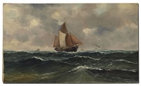 maritime scene with sailing vessels and steam ship in the background by haaike abraham jaarsma