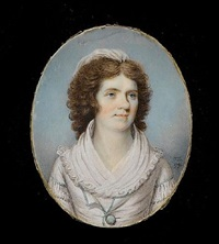 a lady, wearing white dress and fichu, the sleeves and bodice trimmed with white lace, pale green ribbon and matching button by thomas day