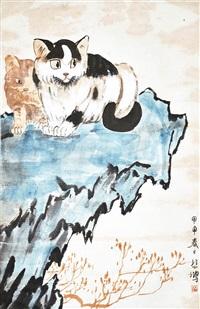 二貓圖 xu beihong two cats by xu beihong