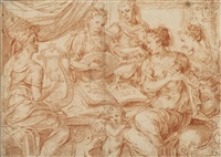five young women playing musical instruments, perhaps saint cecilia and her companions by frans floris the elder
