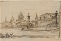 view of the old st. petersburg stock exchange and rostral columns by anna petrovna ostroumova-lebedeva