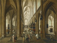 a view of the interior of antwerp cathedral by peeter neeffs the elder