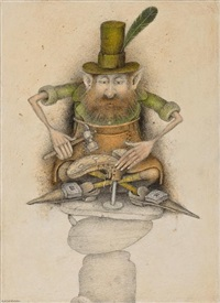 cobbler leprechaun -- ulster (illustration for the leprechaun companion by niall macnamara) by wayne anderson
