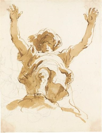 study of a figure with a turban and raised arms seen from below by giovanni battista tiepolo