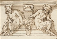 an architectural design with male and female satyrs supporting a pediment by paolo farinati