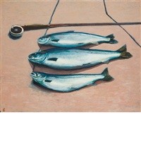 three salmon with rod by john louis laurent