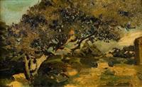 ruines romaines au milieu d'oliviers à tipaza by henri evenepoel