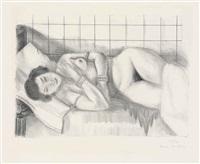 figure endormie, châle sur les jambes by henri matisse