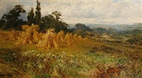 harvest time, near godalming, surrey by john horace hooper