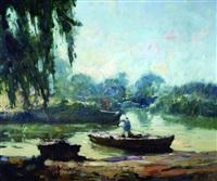 barcas en el rio by oscar antonio vaz