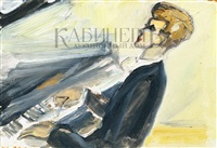 портрет пианиста ван клиберна by alexandre arkadevich labas