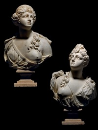 busts of courtesans (pair) by giusto le court