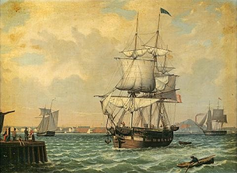 shipping in a harbor new york by fitz henry lane