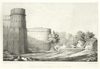 view of the forts of bhurtpoore & weire (bk w/13 works, folio) by george abbott