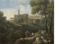 an italianate landscape with classical figures conversing and a village beyond by jan frans van bloemen