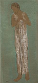 jeune femme à la robe blanche by edgard tytgat