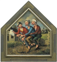 three men riding bike by dariusz milinski
