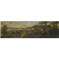 a landscape with cavalrymen by sauveur le conte