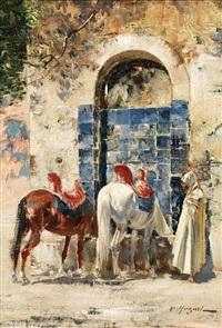 halte à la fontaine by victor pierre huguet