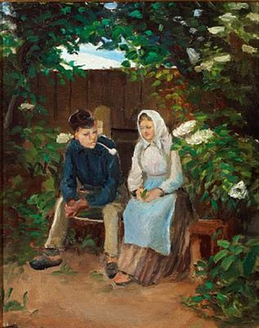 two sweethearts on a bench by michael peter ancher