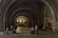 devozione, interno della basilica di san francesco in assisi by luigi premazzi